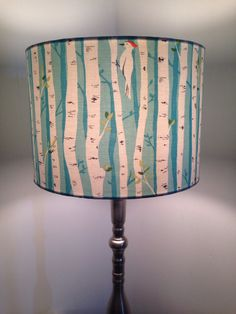 Birch Forest with bird Fabric covered lamp by Lightflightlighting