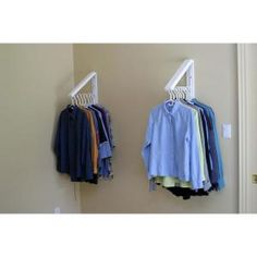 QuikCLOSET White ABS Plastic Collapsible Wall Mounted Clothes Hanging System - The Home Depot Source by clothes ideas Clothes Storage Systems, Clothing Storage, Clothing Hacks, Clothes Storage Ideas For Small Spaces, Hanging Clothes, Clothes Drying Racks, Bar Clothes, Laundry Room Organization, Laundry Room Design