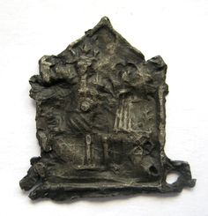 c.1200 A.D England Medieval Period Pewter - Shrine of Our Lady - Pilgrim Badge     British found - Classic Medieval form & design - Mary & Jesus figures within central architectural frame - Windsor shrine