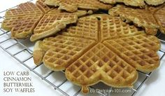 Low Carb Cinnamon Buttermilk Soy Waffles (for Atkins Diet Phase 1) | Dietplan-101 Yields: 8 servings (Each serving: 4.6 g Net Carbs) Ingredients: 1 cup soy flour 2 tsps ground cinnamon 1 tbsp baking powder 1/2 tsp baking soda 6 tbsps granulated sweetener (or 9 sachets) 3/4 cup buttermilk 1/3 cup (75 g) butter (melted) …