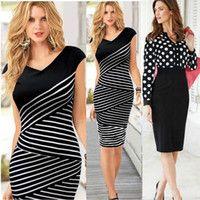 Moda Mujeres Casual vestido de rayas Negro Polka Dot gasa blusa cintura alta vestidos del lápiz para Trajes de trabajo OL delgado elegante encaje M184 0710