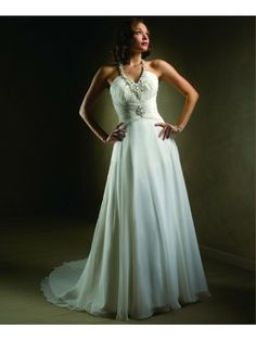 Chiffon Halter Neckline Shirred Bodice A-line Wedding Dress