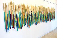 Modern Original Custom Painted Wood Wall Stick Sculpture | 'Stick Together' | by Rosemary Pierce Modern Art | sku#ST33002