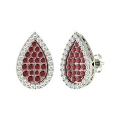 Round Ruby Earrings in 14k White Gold with SI Diamond