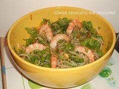 Cinco sentidos na cozinha: Salada de rebentos de feijão mungo com camarão