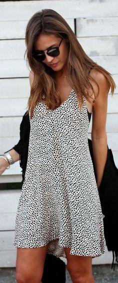 #street #style / black & white print mini dress