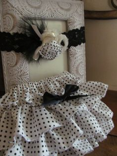 Black Polka dot Ruffled Diaper Cover with by Danielastutus on Etsy, $25.00