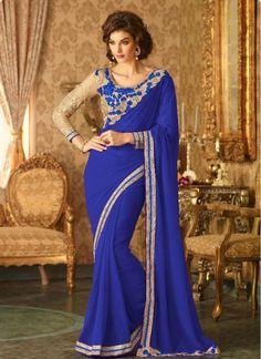 Staring Blue Fabulous Designer Saree