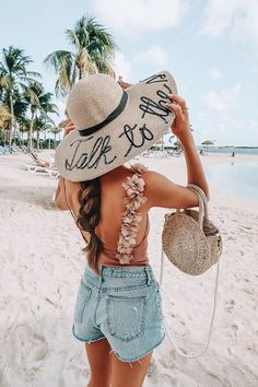 Cute hat travel outfits, vacation outfits, cancun outfits, beach look, beac Vacation Outfits, Summer Outfits, Beach Outfits, Travel Outfits, Cancun Outfits, Outfit Strand, Mein Style, High Cut Bikini, Trendy Swimwear