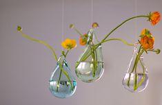 Hand Blown Glass Vases Set of 3 / Hanging Vase / Choose your Color / Flower Vase / Wall Decor