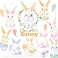 Rabbit Clipart, Craft Business, Baby Animals, Have Fun, Bunny, Clip Art, Easter, Hand Painted, Scrapbook