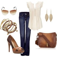 Love! Jeans and cream top with brown accessories - Click image to find more Women's Fashion Pinterest pins