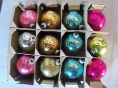 Vintage Large Set of 12 Ornaments Solid Colors Shiny Brite USA