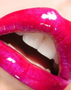 bright blue-based pink lips...beautiful, and as a bonus your teeth look whiter!