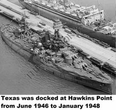 Baltimore Sun newspaper photo of Texas (BB-35) docked at Baltimore's Hawkins Point in 1947. Texas was docked at Hawkins Point from June 1946 to January 1948. Across the pier is the troopship George Washington. George Washington burned at that pier on 16 January 1951. The anti-aircraft battery has been removed form Texas but the fire control equipment and radars remain. Photo from the Baltimore Sun via Joe McDonald.