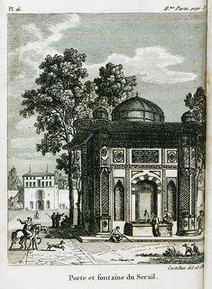 Sultan Ahmet 3 Fountain, Topkapı Palace entrance. Sultanahmet çeşmesi gravürü.