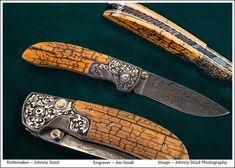 Knifemaker Johnny Stout HHH Feather damascus folder. Engraver Jim Small.