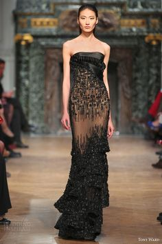 tony ward 2014 couture strapless black dress