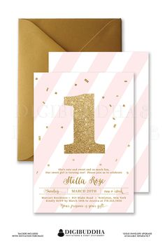 Blush pink stripes & gold glitter 1 Baby girl first birthday party invitation with gold glitter confetti and double sided pink stripes.  Personalized with an age, 1st birthday, 2nd birthday, 3rd birthday, any baby girl birthday party! Gold shimmer envelope is available also in the shop, only at digibuddha.com