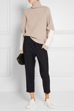 Victoria Beckham // Faux Leather Trimmed Wool Turtleneck.. Cream wool, white faux leather Slips on 100% wool; trim: 65% polyester, 35% cotton Specialist clean Designer color: Biscuit Made in Italy