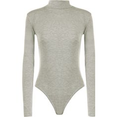 Bettie Turtle Neck Long Sleeved Bodysuit ($13) ❤ liked on Polyvore featuring intimates, shapewear, tops and light grey