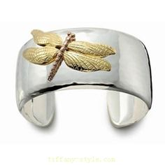 Bling Jewelry Nature Two Tone Dragonfly Sterling Silver Cuff Bracelet Inch Tiffany And Co Bracelet, Tiffany Bangle, Tiffany Rings, Tiffany Jewelry, Tiffany Necklace, Bling Bling, Tiffany Und Co Armband, Bernardo Y Bianca, Tiffany And Co Outlet