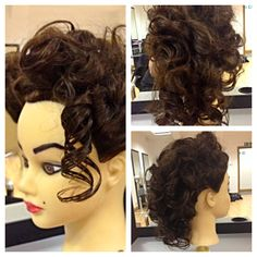 Curly Hair Up do from setting hair in rollers