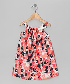 Take a look at this Coral Floral Patch Swing Dress - Infant, Toddler & Girls on zulily today!
