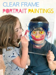 "This art project for kids is so fun! Get a clear plastic ""frame"" and paint, and let kids paint a portrait of a friend or sibling."