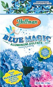 Hoffman 66505 Aluminum Sulfate, 4 Pounds by Hoffman. $14.54. This product count 5 pounds. Makes hydrangeas blue. Acidifying soil conditioner. #N/A. Aluminum Sulfate. Aluminum sulfate is perfect for all acid loving plants. The acidifying soil conditioner makes hydrangeas blue. This product weighs 4 pounds.