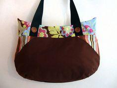 Flower Power brown copper shoulder bag by GabardineCouture on Etsy, 72.00