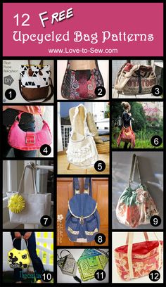 12 Free Upcycled Bag Patterns