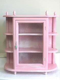 Shabby Chic Pink Curio Cabinet Wall Hanging Or Stand Alone