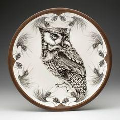 Laura Zindel Design Large Round Platter with Screech Owl #1