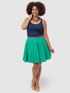 Skater Skirt With Belt In Emerald by Asos Curva