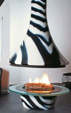 The stunning ceiling hanging fireplace Eva from Bordelet is designed to take center stage in your house. Animal Print Furniture, Indoor Fire Pit, Standing Fireplace, Fireplace Design, Zebra Print, Decor Interior Design, Hot Pink, Pink Stuff, Animal Prints