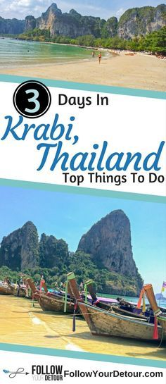 Top things to do in Krabi Thailand. Ride a longtail boat to various islands, incredible beaches, and enjoy delicious food at the night market. Read this for tips on where to stay and what to do when you travel to this amazing town. #Thailand is a #bucketlist destination with its beaches, elephant santuaries, food, culture, temples, and of course beautiful beaches. Let us help you plan your itinerary! #wanderlust #krabi #travelguide #travelblog #southeastasia