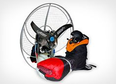 Parajet Let's Fly Paramotor Package. For ~$5,640, buyers get a Parajet Volution 2 paramotor, a Paramania Revo2 paraglider wing, a reserve parachute, paramotor helmet and one weeks worth of training in the UK or Spain. Had something similar back in the 80s, lots of fun!