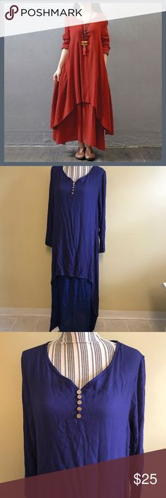 🆕 Double Layer Maxi Tunic Dress! Cute shark bite hem! Two toned blue dress. Size XL. NWT! Love it, but was too big, since the style is a loose fitting style. This is an Asian size so please look at attached size chart. The dress for sale is blue, modeled pictures are just stock photos to more accurately show the beauty of the dress! Very lightweight! Perfect summer dress!!! (Sleeves are meant to be long and have buttons at the wrist, modeled picture shows them rolled up). Dresses Maxi