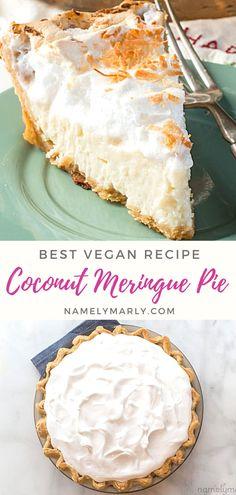 Best Vegan Desserts, Coconut Desserts, Best Vegan Recipes, Favorite Recipes, Vegan Blogs, Healthy Recipes, Coconut Meringue Pie, Vegan Meringue, Coconut Milk