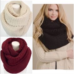 "⭐️LAST ONES!⭐️NWT Oversized Knit Infinity Scarf NWT Oversized Knit Infinity Scarf, available in 3 colors: Black, Burgundy, and Cream. The softest knit with an oversized style, this will be your coziest scarf this season! Soft Polyester. Double layer infinity scarf, width is approx 20"", Length is 72"". No Trades and No Paypal⭐️PLEASE DO NOT PURCHASE THIS LISTING, COMMENT AND I WILL MAKE A NEW LISTING FOR PURCHASE⭐️ Accessories Scarves & Wraps"