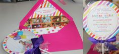 candy land first birthday party colorful rainbow lollipop invitations
