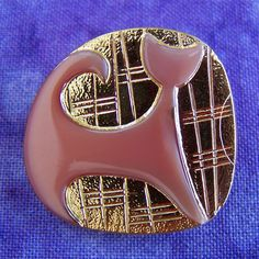 "PAiR Vintage Czech glass buttons Mod Feline 1 1/16"" x2"