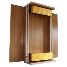 MARICHI: Teak veneer on birch plywood, stainless steel hinges, 22ct gold leaf. Includes golden lighting pelmet and storage box decorated with grooves to highlight the gold leaf.
