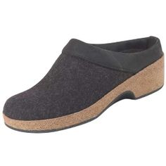 Women's Grizzly Wedge Leather Trim by haflinger: Wrap your feet in cozy boiled wool with a comfy cork/latex footbed! #Clog #Wedge #Haflinger