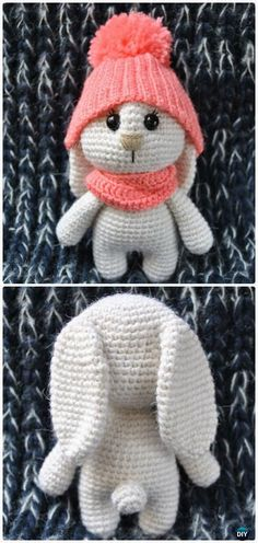 Crochet Amigurumi Bunny in Hat Free Patterns #Crochet - more at megacutie.co.uk