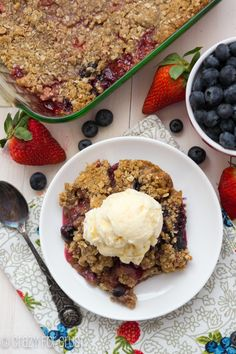 Berry Crisp with Oatmeal Cookie Crumble