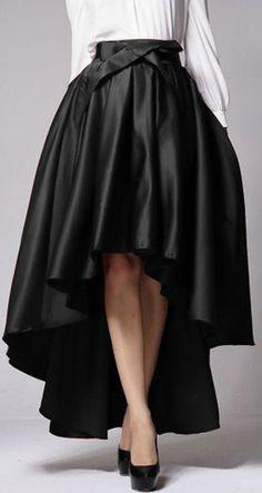 Black Bowknot Waist Hi-lo Skater Skirt