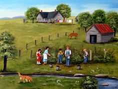 Art to buy, American Folk Art Prints, Original Folk Art, Paintings Landscapes, Picking Blackberries, Barb wire Fence, Clothes Line Print, Dog Stream, Farm House, Arie Taylor, Reinhardt, Children in art, Art for sale, buy original art. Picking Blackberries #5 Picking Blackberries is a print from one of Arie Reinhardt Taylors paintings. 94 year old artist Arie Reinhardt Taylor is a 2nd generation artist and her art is well know throughout western North Carolina. She has painted 40 years out…