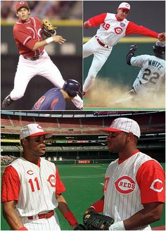 Did you know that on September 1998 Barry Larkin, brother Steve Larkin, and Bret Boone, and brother Aaron Boone all played in the infield together. It marked the first time in MLB history that two sets of siblings played in the field at the same time Baseball Players, Baseball Cards, Basketball T Shirt Designs, Baseball Classic, Johnny Bench, Cincinnati Reds Baseball, Cleveland Browns, Summer Girls, Boy Or Girl